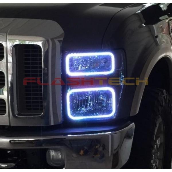 99 F350 Headlights >> Ford F250 / F350 V.3 Fusion Color Change LED Halo ...