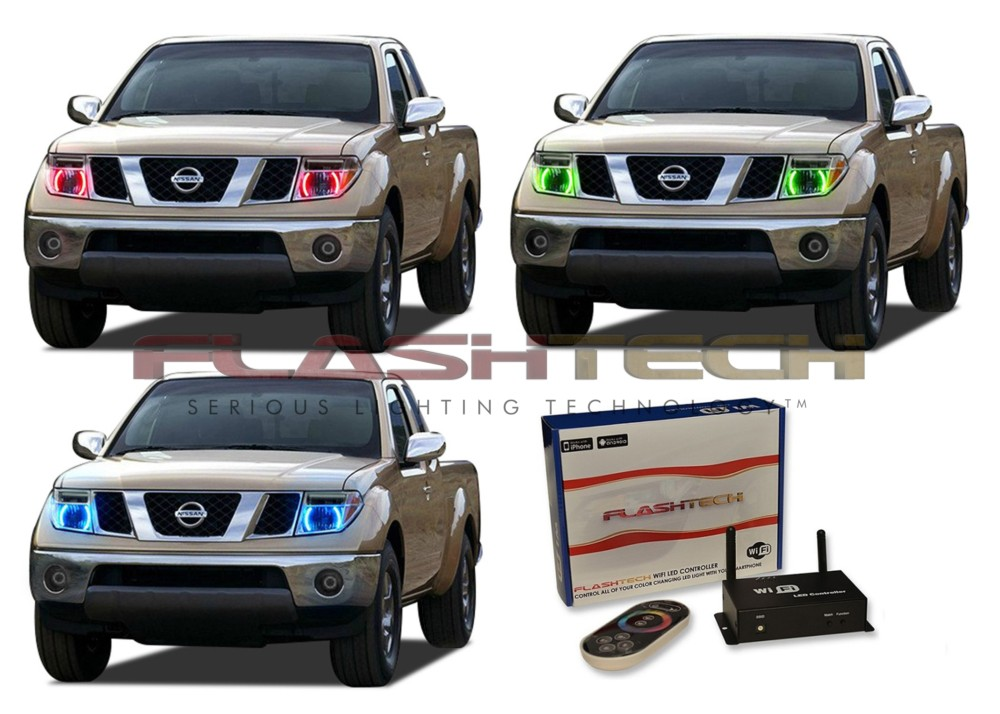 LED Headlight Halo Ring RGB Multi-Color WIFI Kit for Nissan Frontier 05-08