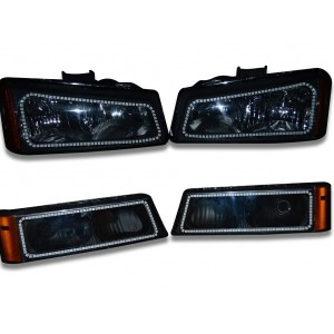 flashtech Chevy Silverado V.3 ColorChange upper & lower outline halo headlight kit 03-06 Silverado CY-SV0306SC-V3H