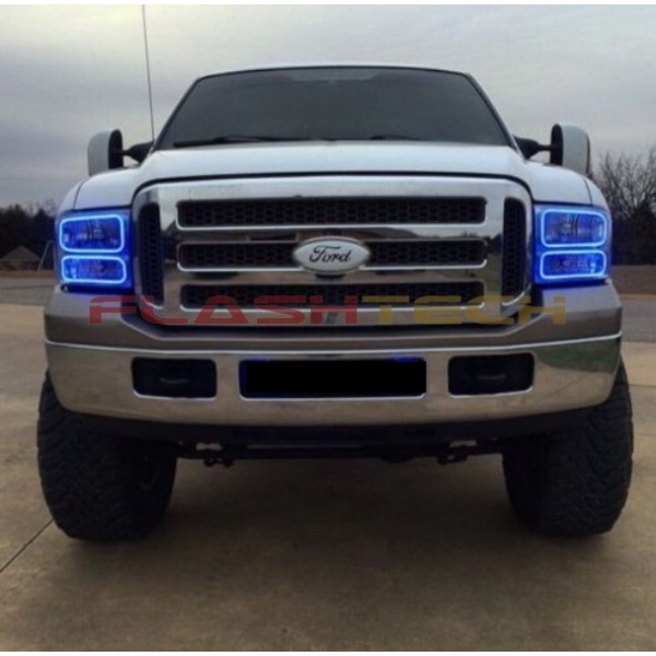 bluef2500507 600x600 ford f250 f350 v 3 fusion color change led halo headlight kit  at bayanpartner.co