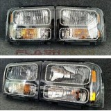 Ford F250 / F350 (2005-2007) Headlight Housings with V.3 Fusion Color Change LED Halos already installed
