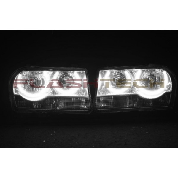 chrysler 300 white led halo headlight kit 2005 2010. Black Bedroom Furniture Sets. Home Design Ideas