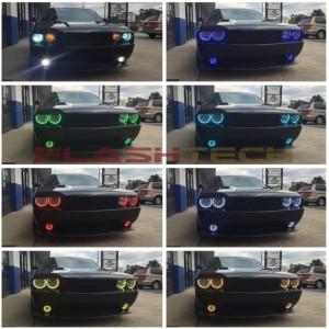 flashtech Dodge Challenger NonProjector V.3 Fusion Color Change LED HALO HEADLIGHT KIT 08-14 Challenger DO-CLNP0813-V3H