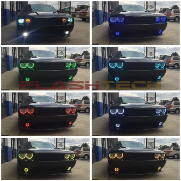 Dodge challenger nonprojector v3 fusion color change led halo flashtech dodge challenger nonprojector v3 fusion color change led halo headlight kit 08 publicscrutiny Images