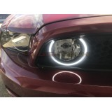 Ford Mustang GT External Waterproof White & Amber Switchback LED HALO Grille Fog Light Kit 2013-2014