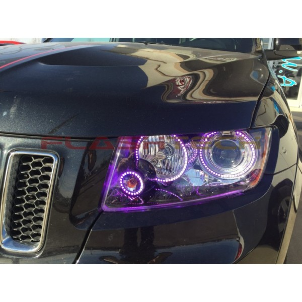 jeep grand cherokee v 3 fusion color change led halo headlight kit 2011 2013. Black Bedroom Furniture Sets. Home Design Ideas