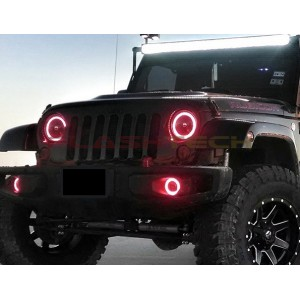 flashtech Jeep Wrangler V.4 Plasma Color Change LED Halo Headlight Kit (2007-2015) Wrangler JE-WR0715-V4H