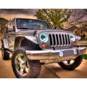 flashtech Jeep Wrangler White LED HALO FOG LIGHT KIT (2007-2015) Wrangler JE-WR0715-WF
