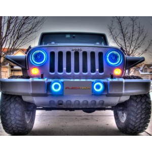 flashtech Jeep Wrangler  V.3 Fusion Color Change LED HALO FOG LIGHT KIT (2007-2015) Wrangler JE-WR0715-V3F