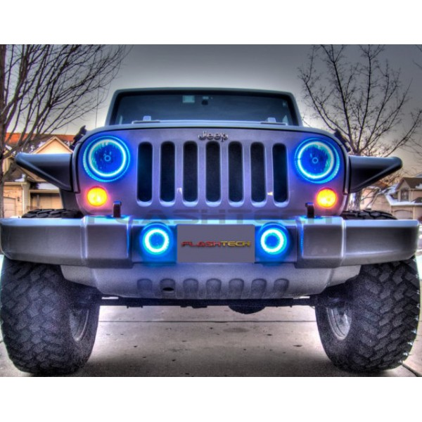 Jeep Wrangler Hid Headlights Jeep Wrangler V.3 Fusion Color Change LED Halo Headlight ...