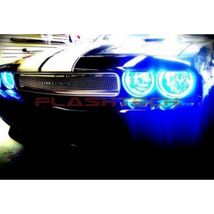 flashtech Dodge Challenger NonProjector V.3 Fusion Color Change LED HALO HEADLIGHT KIT 08-14 Challenger DO-CLNP0813-V3H