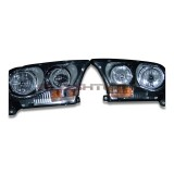Dodge Durango (2011-2013) Headlight Housings with  V.3 Fusion Color Change LED Halos Installed