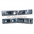 GMC 1500 Headlight and Blinker Housings with Flashtech V.3 Color Change Halos Installed (1988-1998 OBS)