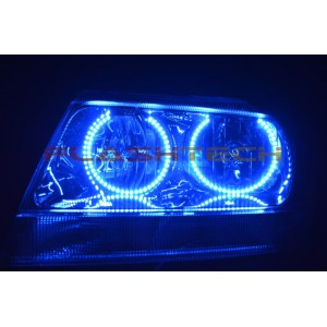 flashtech Jeep Grand Cherokee Round V.3 Color Change LED Halo Headlight Kit (1999-2004) Grand Cherokee JE-GC9904R-V3H