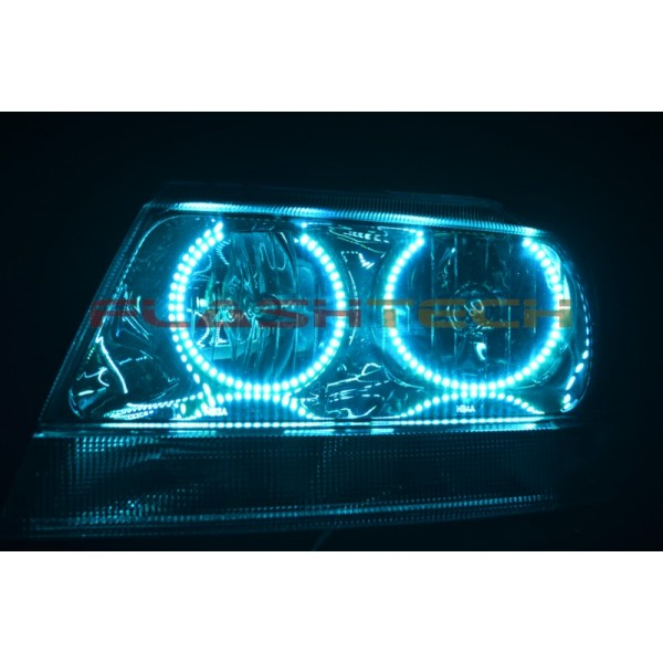 Flashtech Jeep Grand Cherokee Round V.3 Color Change LED Halo Headlight Kit  (1999
