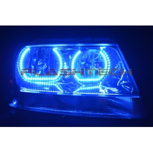 flashtech Jeep Grand Cherokee Square V.3 Color Change LED Halo Headlight Kit (1999-2004) Grand Cherokee JE-GC9904S-V3H