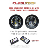 "Flashtech 7020 7""  LED Headlight Assemblies: 7"" Round with Fusion Color Changing halos Installed"