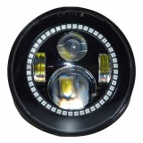 "Flashtech 7045 7""  LED Headlight Assemblies: 7"" Round with Fusion V.3 Color Changing halos Installed"