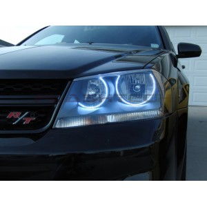 flashtech Dodge Avenger White LED HALO HEADLIGHT KIT (2008-2015) Avenger DO-AV0815-WH