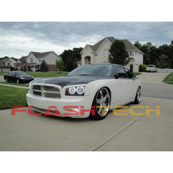 dodge charger white led halo headlight kit 2005 2010. Black Bedroom Furniture Sets. Home Design Ideas