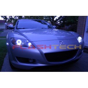 flashtech Mazda Rx-8 White LED HALO HEADLIGHT  KIT (2004-2008) Rx-8 MA-RX80408-WH