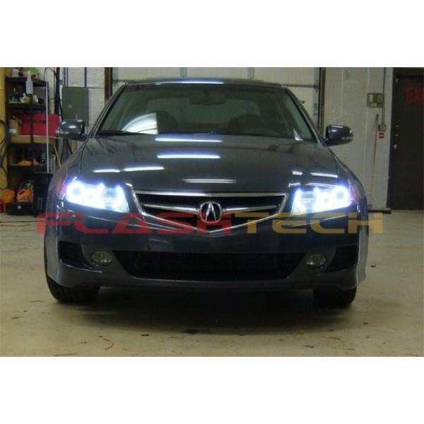 acura tsx white led halo headlight kit 2004 2008 rh flashtechusa com 2004 Acura TSX Headlight Assembly Acura TSX Halo Headlights