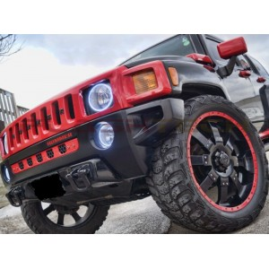 flashtech Hummer H2 White LED HALO FOG LIGHT KIT (2003-2009) Hummer HU-H203-WF