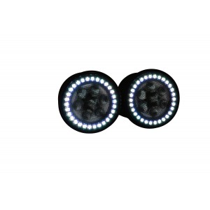 Jeep Wrangler JK LED Turn Signal Light w/ V.3 Fusion Color Change LED Halos Installed
