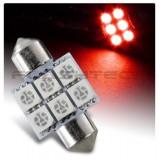 Flashtech 31mm 6 SMD Led Bulb - Red
