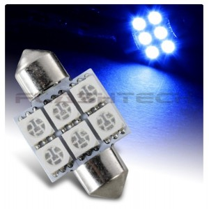 flashtech Flashtech 33mm 6 SMD Led Bulb - Blue 33mm FT33-6B