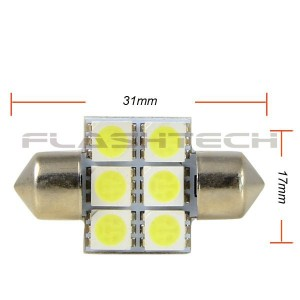 flashtech Flashtech 31mm 6 SMD Led Bulb - White 31mm FT31-6W