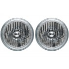 """5 3/4"""" Round LED Headlight Assemblies with White Halos Installed (Pair)"""