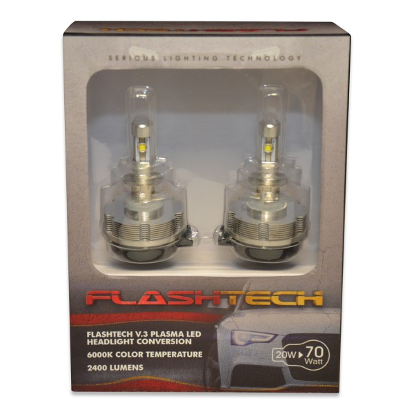 Flashtech FLASHTECH V.3 Plasma LED Replacement HEADLIGHT BULBS: H3 Bulb  Size Single Beam